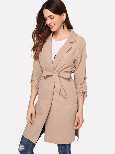 Apricot Self Tie Solid Outerwear