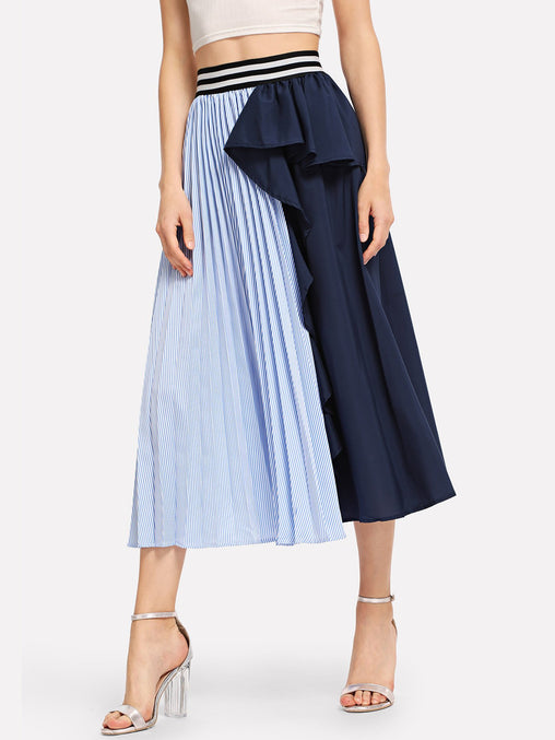Multicolor Ruffle Trim Striped Panel Skirt