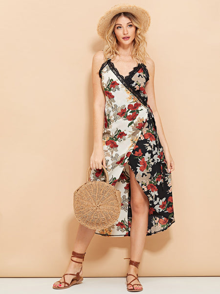 Multicolor Lace Trim Floral Print Cami Dress