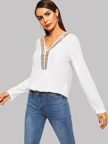 Beige Contrast Sequin V-neck Top
