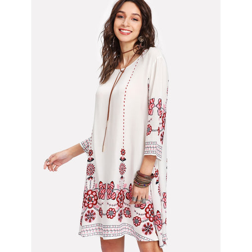 Tribal Flower Print Tunic Dress - Fashiontage