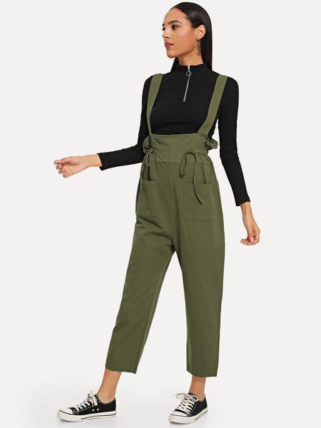 Army Green Drawstring Detail Solid Jumpsuit
