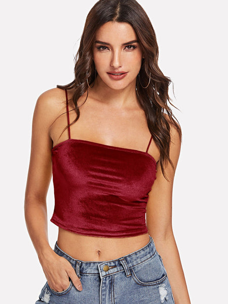 Burgundy Open Back Velvet Crop Cami Top