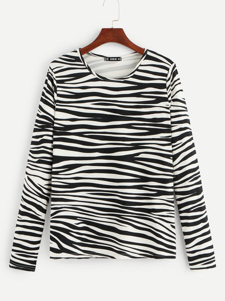 Animal Print Round Neck T-Shirt