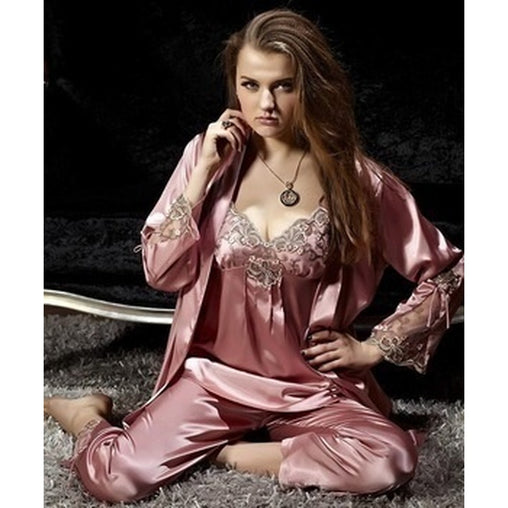 Apricot V-Neck Long Sleeve Pajama Sets