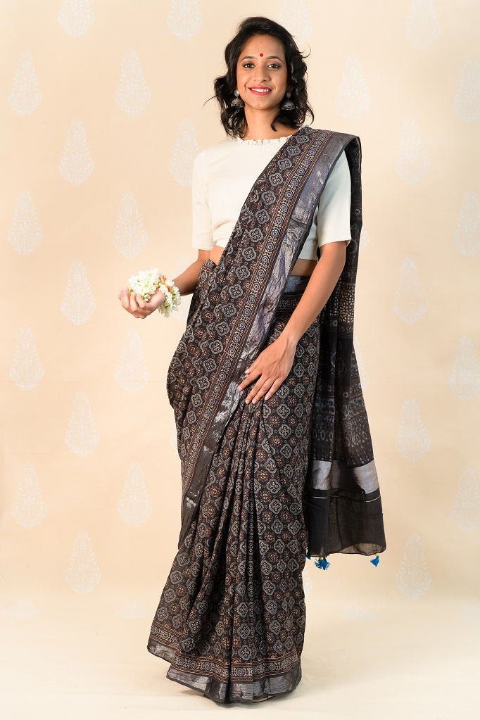 Charcoal Handloom Cotton Saree with Ajrakh Prints - Tina Eapen Design Studio