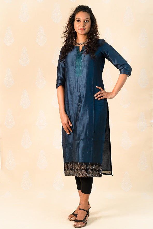 Long Midnight blue Chanderi Silk Kurta with Ajrakh - Tina Eapen Design Studio