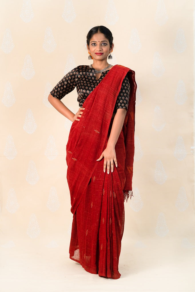 Organic Madder Khadi cotton saree with Ajrakh blouse - Tina Eapen Design Studio