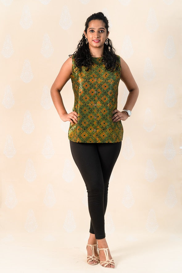 Green Mashru Silk Kurti with Ajrakh - Tina Eapen Design Studio