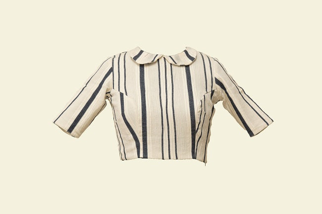Striped  Cream Crape Blouse - Tina Eapen Design Studio