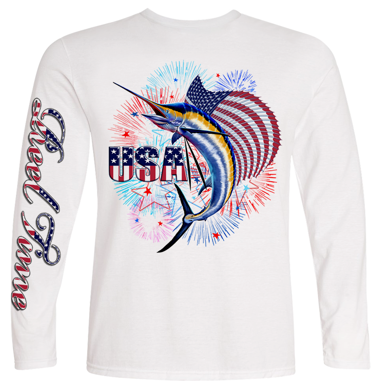 Patriotic Sailfish (Kids) - - Kids Tees | Long Sleeves