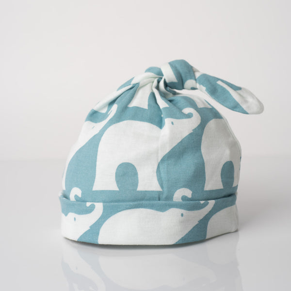 Organic Cotton Knotted Hat Blue Elephant
