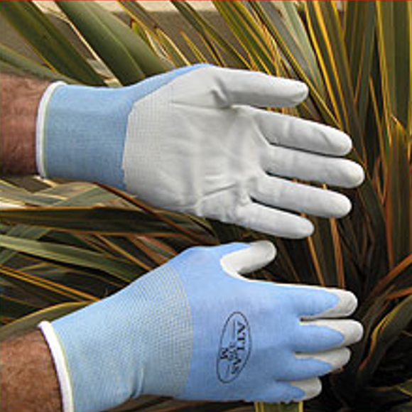 Blue hypoallergenic Atlas gardening gloves