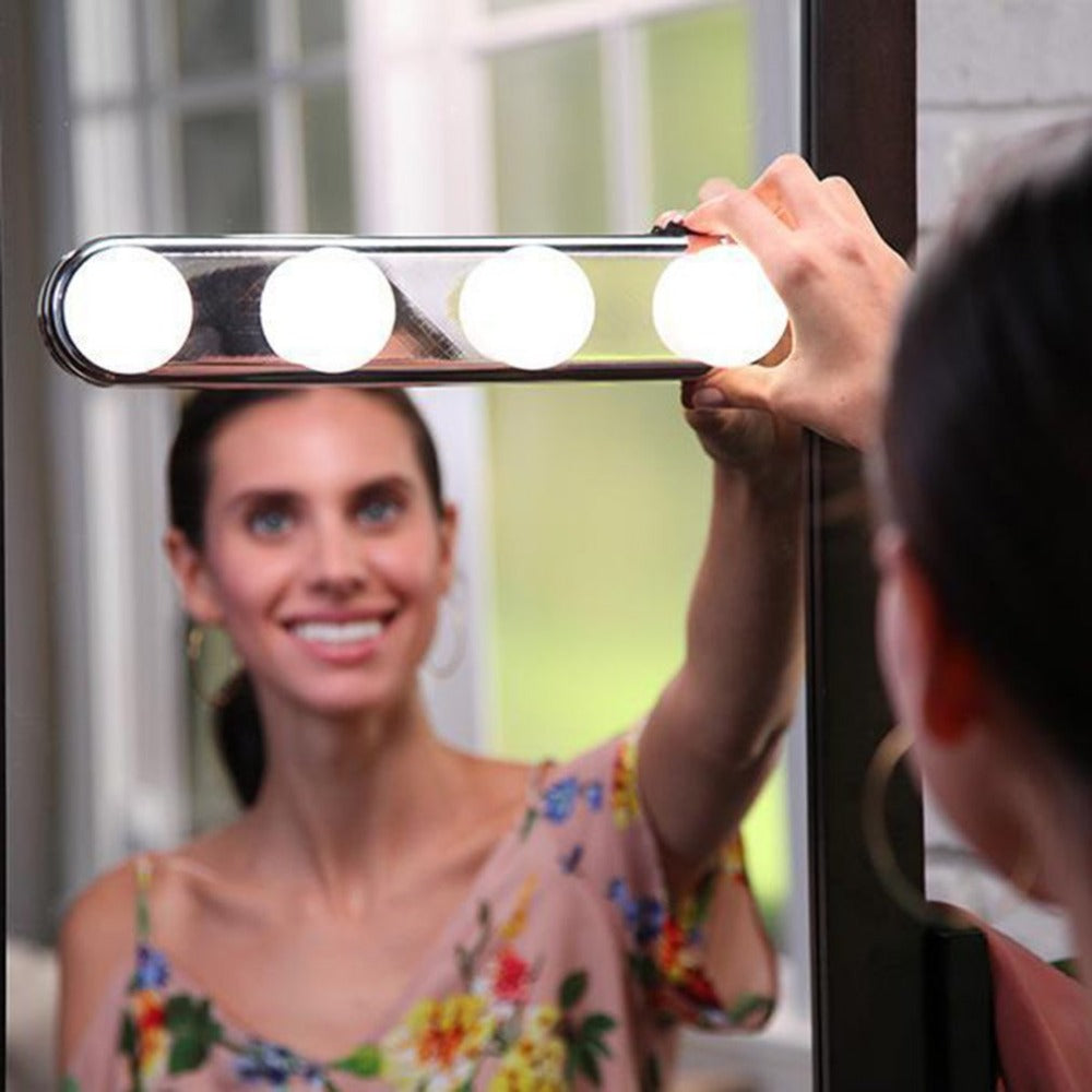 Studio Glow 4 LED Bulbs Make Up Light Super Bright Portable Cosmetic Mirror Light Kit Battery Powered Makeup Light