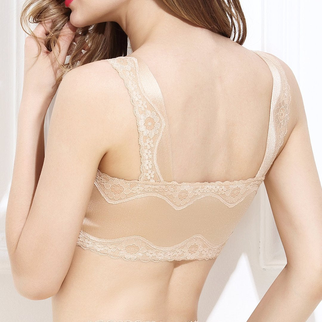 Wireless Anti-sagging Front Zip Breathable Satin Lace Hem  Bra (Sise M to XXXL)