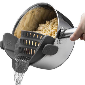 Clip-On Silicone Strainer-Kitchen & Dining-bsubuy.com-Black-