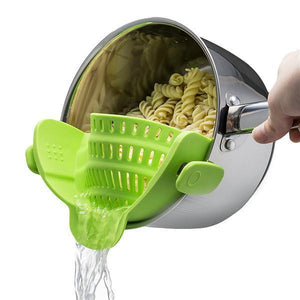 Clip-On Silicone Strainer-Kitchen & Dining-bsubuy.com-Green-