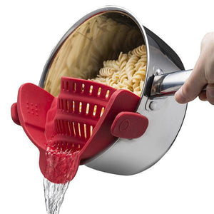 Clip-On Silicone Strainer-Kitchen & Dining-bsubuy.com-Red-