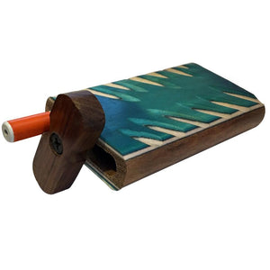 "4"" Carved Wood Swivel Cap Dugout - Turquoise"