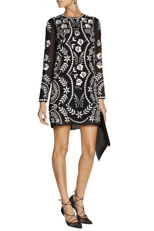 Embroidered Georgette Mini Dress