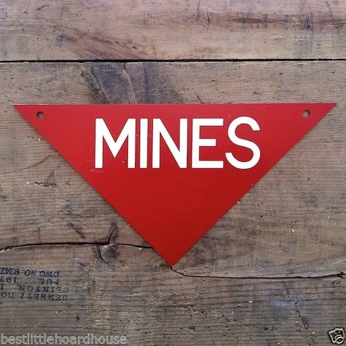 MINES SIGN Military Warning Field Marker 1960s