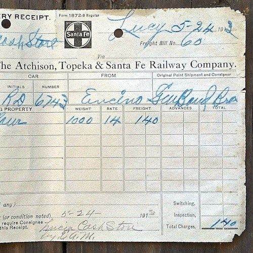 SANTA FE RAILROAD Freight Delivery Receipt 1910s