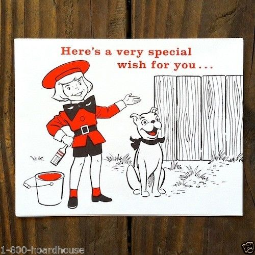 BUSTER BROWN & TIGE Shoes Birthday Card 1950s