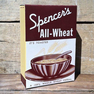 SPENCER'S ALL-WHEAT Cereal Box 1930s