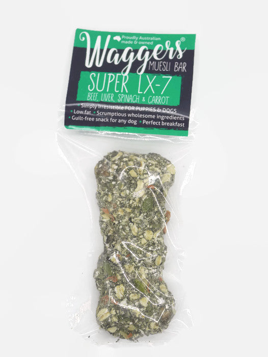 Waggers Muesli Bar LX7 Beef, Liver, Spinach & Carrot – large single muesli bar for dogs
