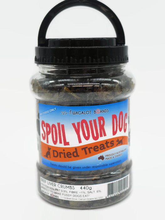 Spoil Your Dog Beef Liver Crumbs 440 grams in a screw top jar
