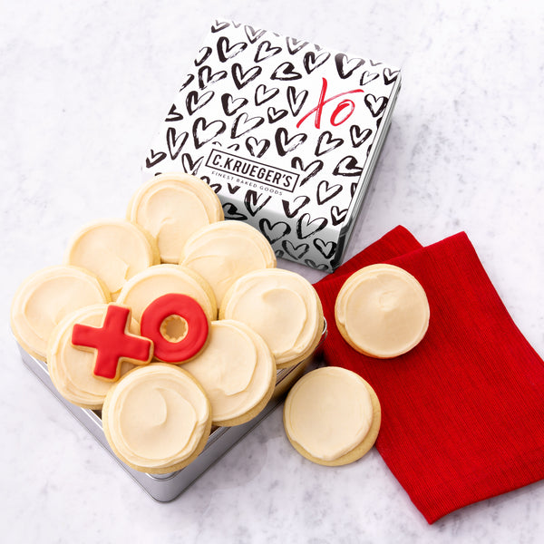 XO Hearts Gift Tin - Buttercream Iced Sugar Cookies