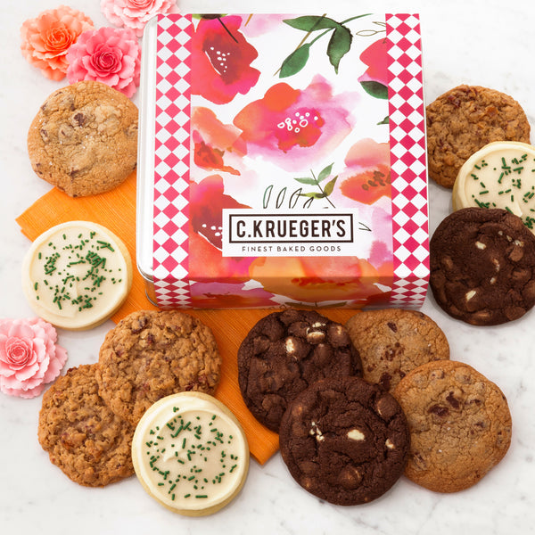 Watercolor Poppies Gift Tin - Select Your Cookies
