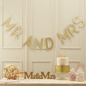 Gold Glitter Mr and Mrs Banner