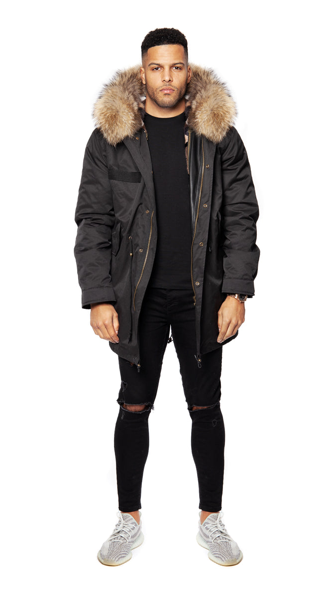 Mens Minked Lined Black Luxy Fur Parka - 3/4 Natural
