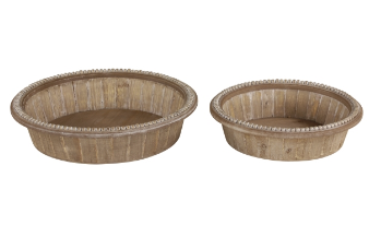 Set of 2 Round Wood Trays