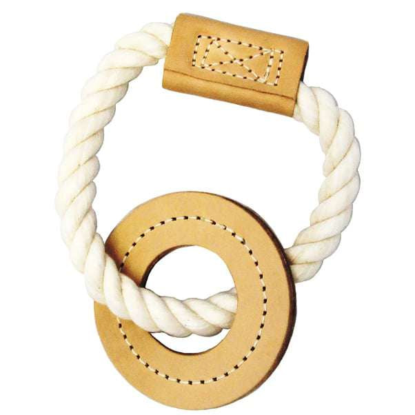 All- Natural Cotton and Leather Ring Tug Toy for dogs