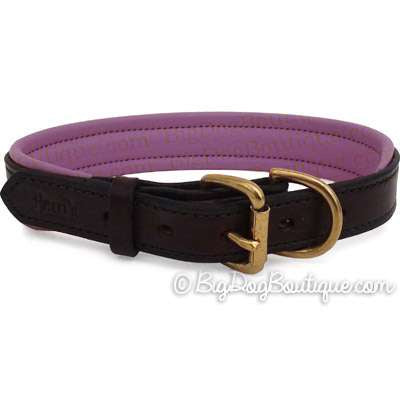 Padded Leather Dog Collar- brown with purple padding