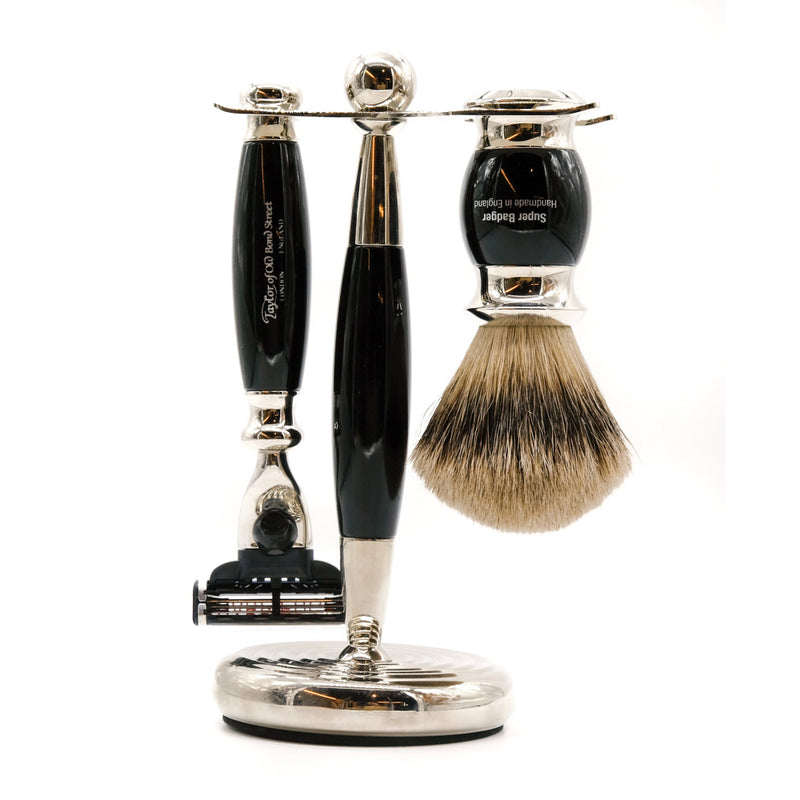 Taylor of Old Bond Street Black Mach3 Super Edwardian Shaving Set
