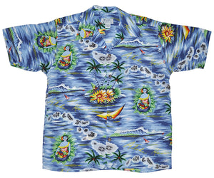 Aloha Isles Blue Retro Hawaiian Shirt