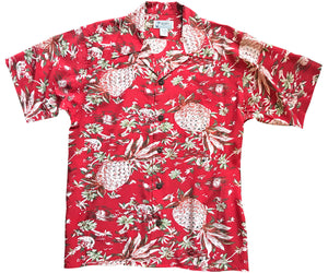 Pineapple Hut Red Retro Hawaiian Shirt