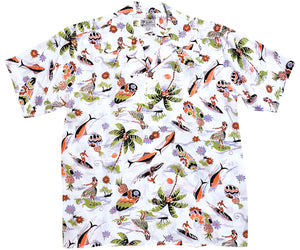 Surf n Hula White Retro Hawaiian Shirt (closeout)