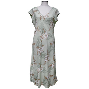 Kahala Orchid Green Mid-Length Dress with Cap Sleeves