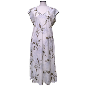 Kahala Orchid White Mid-Length Dress with Cap Sleeves