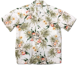 Pacific Orchid White Hawaiian Shirt