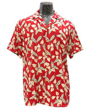 Mini Anthurium Red Hawaiian Shirt