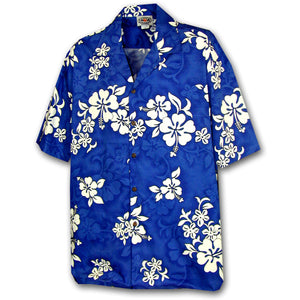 White Flower Blue Hawaiian Shirt