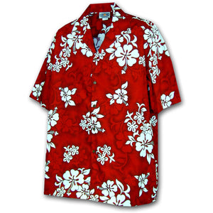 White Flower Red Hawaiian Shirt
