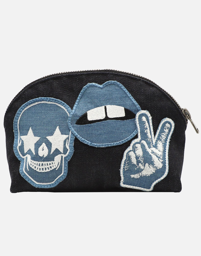 Embry Denim Patch Makeup Pouch