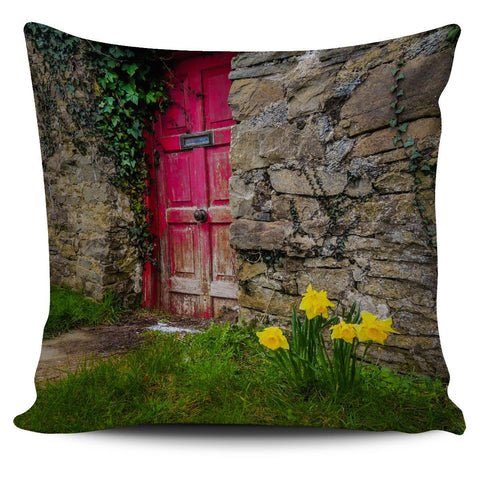 Pillow Cover - Daffodils Outside Irish Cottage in County Clare Pillow Cover Moods of Ireland