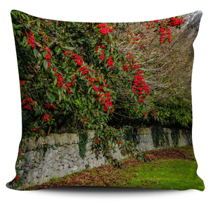 Pillow Cover - Spring Cottoneaster and Rock Wall in County Clare Pillow Cover Moods of Ireland